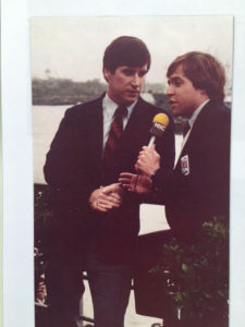 Doug Cooney & Bob Costas, NBC Sports. Shanghai, China 1980